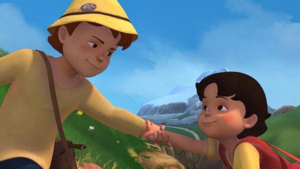 Peter rettet Heidi davor, in den Abgrund zu stürzen. | Rechte: ZDF/Studio 100 Animation/Heidi Productions Pty. Limited