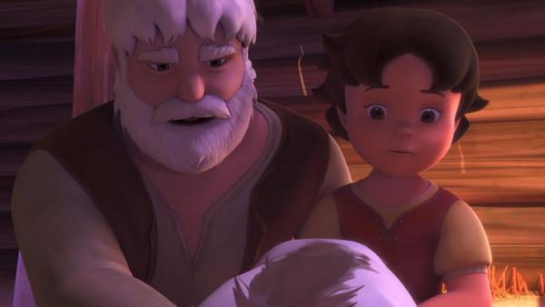 Großvater und Heidi kümmern sich um die verletzte Ziege.   Rechte: ZDF/Studio 100 Animation/Heidi Productions Pty. Limited