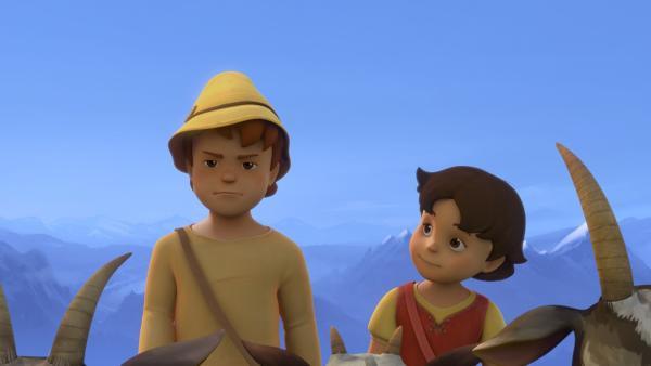 Peter ärgert sich, dass er Heidi an ihrem ersten Tag auf der Alm mitnehmen muss.   Rechte: ZDF/Studio 100 Animation/Heidi Productions Pty. Limited