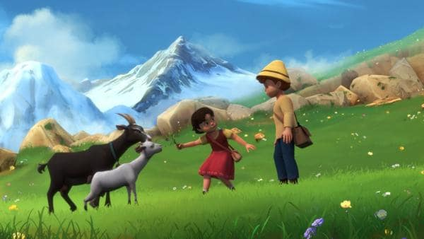 Heidi zeigt Peter, wie ihr die Ziegen gehorchen. | Rechte: ZDF/Studio 100 Animation/Heidi Productions Pty. Limited