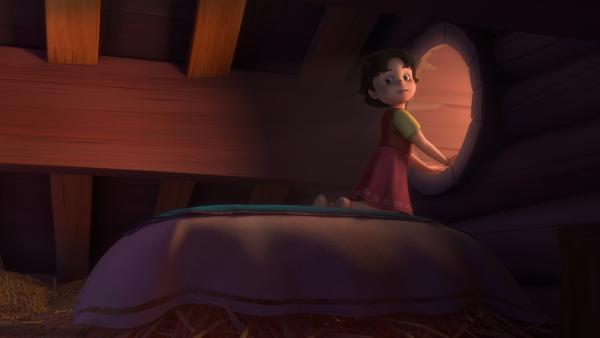 Heidi bekommt ein neues Bett in der Almhütte. | Rechte: ZDF/Studio 100 Animation/Heidi Productions Pty. Limited