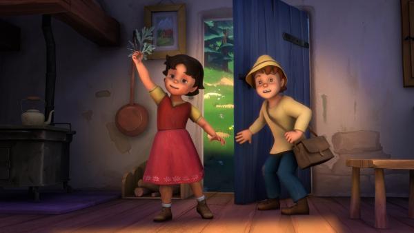 Heidi und Peter haben das Heilkraut gefunden. | Rechte: ZDF/Studio 100 Animation/Heidi Productions Pty. Limited