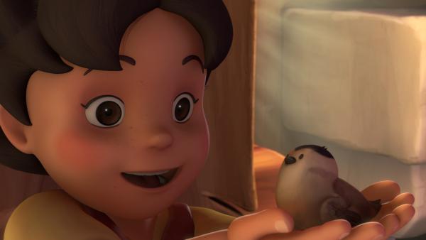 Das Vögelchen ist gerettet, Heidi nennt es Pieple. | Rechte: ZDF/Studio 100 Animation/Heidi Productions Pty. Limited