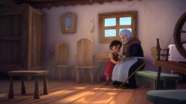 Heidi bittet Peters blinde Großmutter um Hilfe.   Rechte: ZDF/Studio 100 Animation/Heidi Productions Pty. Limited
