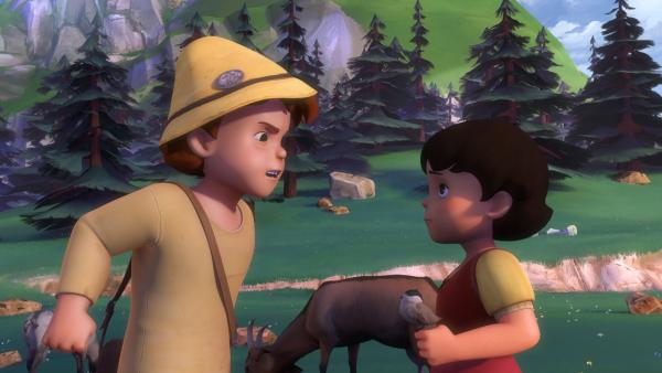 Peter ärgert sich, weil Heidi sein Geheimnis wissen möchte.   Rechte: ZDF/Studio 100 Animation/Heidi Productions Pty. Limited