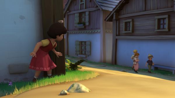 Heidi belauscht die Kinderbande. | Rechte: ZDF/Studio 100 Animation/Heidi Productions Pty. Limited