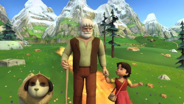 Großvater und Heidi gehen überglücklich mit Josef nach Hause. | Rechte: ZDF/Studio 100 Animation/Heidi Productions Pty. Limited
