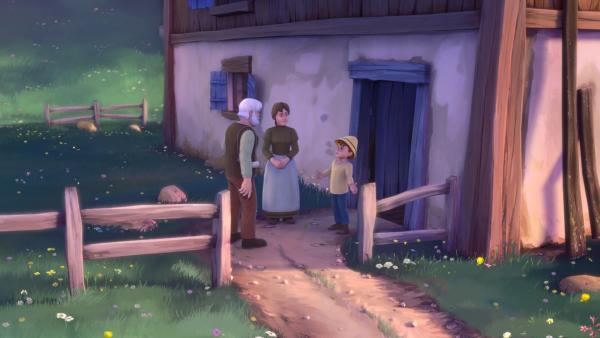 Auf der Suche nach Heidi bittet Großvater Peter und dessen Mutter um Hilfe. | Rechte: ZDF/Studio 100 Animation/Heidi Productions Pty. Limited