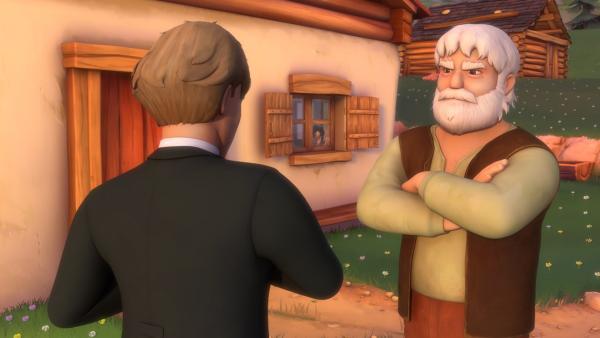 Heidi beobachtet ein Gespräch zwischen dem Dorflehrer und Großvater. | Rechte: ZDF/Studio 100 Animation/Heidi Productions Pty. Limited
