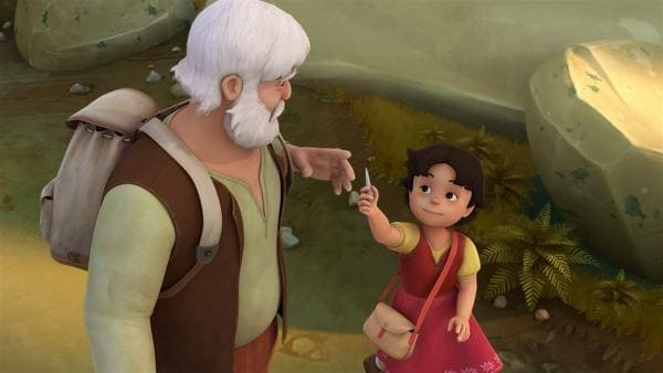 Heidi zeigt Großvater ihr Fossil.   Rechte: ZDF/Studio 100 Animation/Heidi Productions Pty. Limited