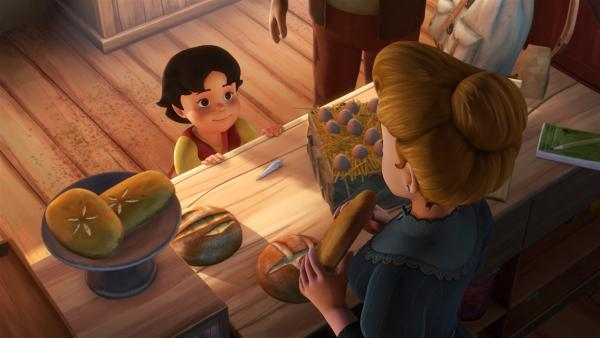 Heidi will mit dem Fossil ein Brot kaufen. | Rechte: ZDF/Studio 100 Animation/Heidi Productions Pty. Limited