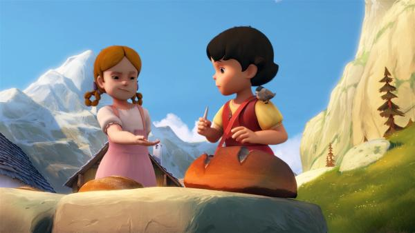 Heidi tauscht mit Theresa Fossil gegen Brot.   Rechte: ZDF/Studio 100 Animation/Heidi Productions Pty. Limited