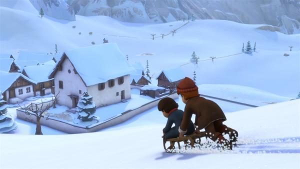 Peter und Heidi fliehen mit dem Schlitten. | Rechte: ZDF/Studio 100 Animation/Heidi Productions Pty. Limited