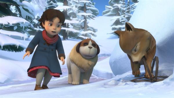 Heidi findet das Wolfsjunge, das in einer Falle steckt. | Rechte: ZDF/Studio 100 Animation/Heidi Productions Pty. Limited