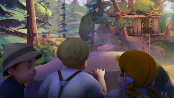 Karl und seine Bande beobachten Heidi und Peter im Baumhaus. | Rechte: ZDF/Studio 100 Animation/Heidi Productions Pty. Limited