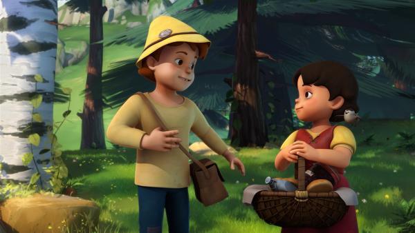 Heidi und Peter freuen sich auf ihr Picknick im Baumhaus. | Rechte: ZDF/Studio 100 Animation/Heidi Productions Pty. Limited