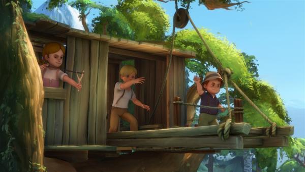 Karl und seine Bande haben das Baumhaus erobert.   Rechte: ZDF/Studio 100 Animation/Heidi Productions Pty. Limited