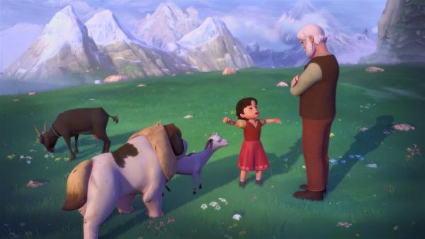 Heidi möchte auch ein Geißen-General werden, wie Peter. | Rechte: ZDF/Studio 100 Animation/Heidi Productions Pty. Limited