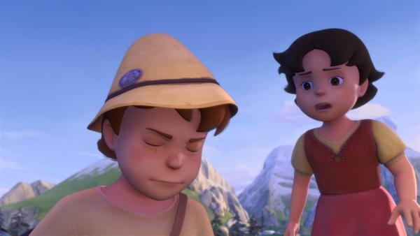 Peter erzählt Heidi, dass Schneeauge keine Milch mehr gibt.   Rechte: ZDF/Studio 100 Animation/Heidi Productions Pty. Limited