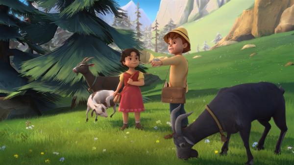 Peter erklärt Heidi, was sie als Geißen-General können muss. | Rechte: ZDF/Studio 100 Animation/Heidi Productions Pty. Limited