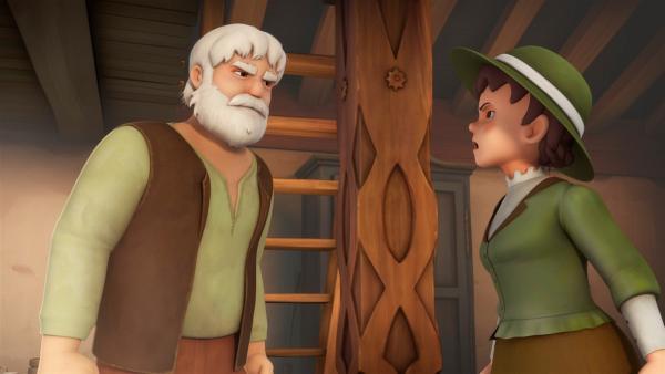 Tante Dete will Heidi mitnehmen und gerät mit Großvater in Streit. | Rechte: ZDF/Studio 100 Animation/Heidi Productions Pty. Limited