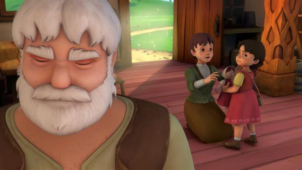 Großvater und Heidi verabschieden sich schweren Herzens voneinander.   Rechte: ZDF/Studio 100 Animation/Heidi Productions Pty. Limited