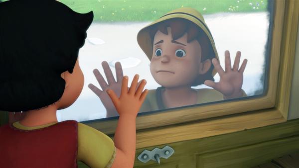 Peter ist entsetzt, dass Heidi ihn und die Berge verlässt.   Rechte: ZDF/Studio 100 Animation/Heidi Productions Pty. Limited