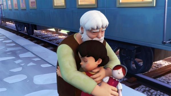 Heidi ist sehr traurig, dass sie Großvater verlassen soll.   Rechte: ZDF/Studio 100 Animation/Heidi Productions Pty. Limited