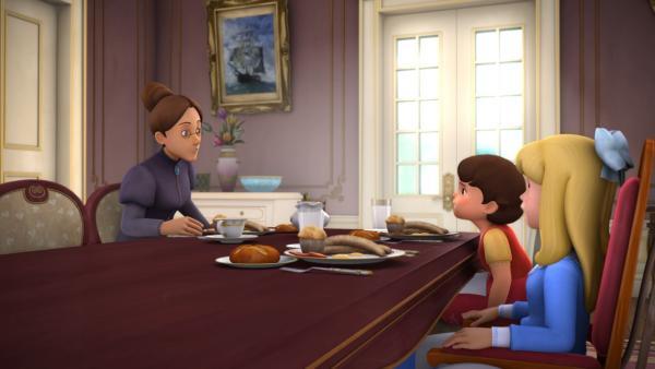 Heidi fragt Fräulein Rottenmeier nach dem höchsten Turm. | Rechte: ZDF/Studio 100 Animation/Heidi Productions Pty. Limited