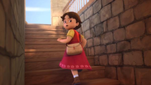 Heidi konnte den Küster überlisten und steigt auf den Kirchturm. | Rechte: ZDF/Studio 100 Animation/Heidi Productions Pty. Limited