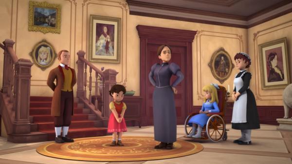 Als Heidi zurückkehrt, bekommt sie Ärger mit Fräulein Rottenmeier. | Rechte: ZDF/Studio 100 Animation/Heidi Productions Pty. Limited