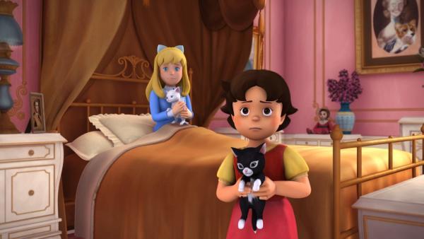 Clara und Heidi wurden mit ihren Kätzchen von Fräulein Rottenmeier entdeckt. | Rechte: ZDF/Studio 100 Animation/Heidi Productions Pty. Limited