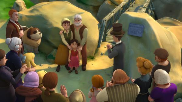 Heidi hält eine Rede bei der Brückeneinweihung. | Rechte: ZDF/Studio 100 Animation/Heidi Productions Pty. Limited