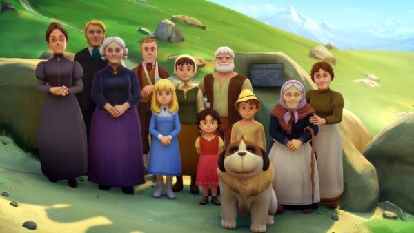 Heidis und Claras Familien posieren für ein gemeinsames Foto. | Rechte: ZDF/Studio 100 Animation/Heidi Productions Pty. Limited