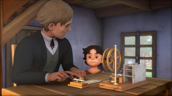 Heidi bittet Herrn Traber, ihrem Großvater mit dem Telegraf eine Nachricht zu schicken. | Rechte: ZDF/Studio 100 Animation/Heidi Productions Pty. Limited