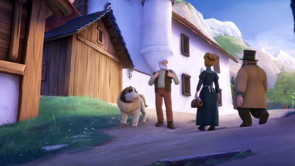 Großvater begegnet Herrn und Frau Keller auf dem Weg nach Mayenfeld.   Rechte: ZDF/Studio 100 Animation/Heidi Productions Pty. Limited