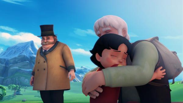 Heidi liegt in Großvaters Armen. Herr Keller betrachtet sie mitfühlend.   Rechte: ZDF/Studio 100 Animation/Heidi Productions Pty. Limited