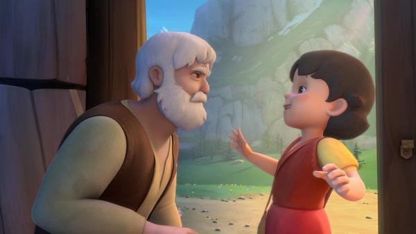 Großvater erlaubt Heidi, im Winter die Schule zu besuchen. | Rechte: ZDF/Studio 100 Animation/Heidi Productions Pty. Limited