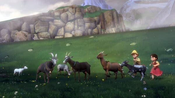 Während Heidi und Peter die Ziegen hüten, zieht plötzlich ein Gewitter auf. | Rechte: ZDF/Studio 100 Animation/Heidi Productions Pty. Limited