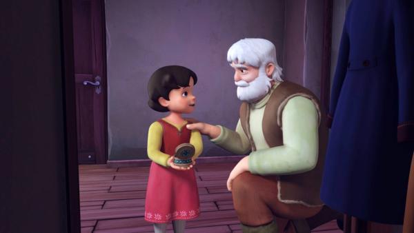 Großvater schenkt Heidi eine Brosche.   Rechte: ZDF/Studio 100 Animation/Heidi Productions Pty. Limited
