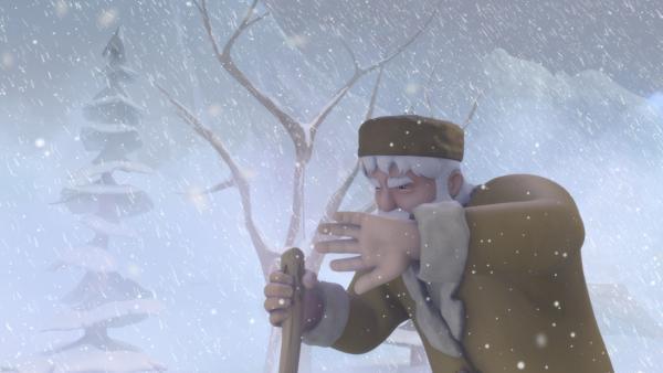 Großvater stapft durch den Schnee.   Rechte: ZDF/Studio 100 Animation/Heidi Productions Pty. Limited
