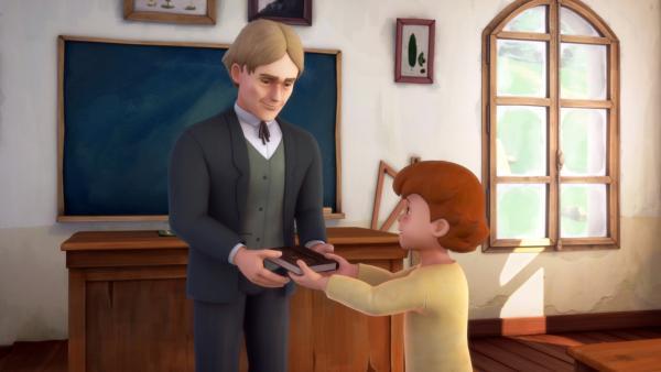 Peter war Klassenbester und erhält ein Buch. | Rechte: ZDF/Studio 100 Animation/Heidi Productions Pty. Limited