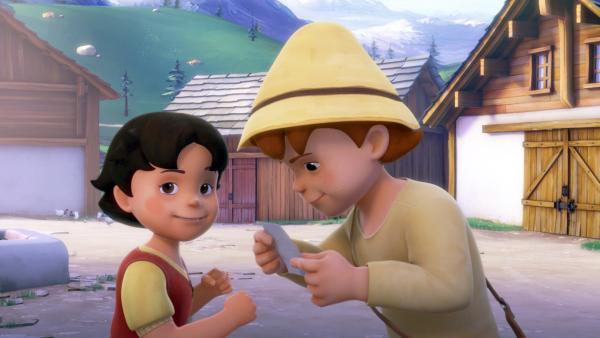 Heidi und Peter denken bei der Schnitzeljagd über den Hinweis nach. | Rechte: ZDF/Studio 100 Animation/Heidi Productions Pty. Limited