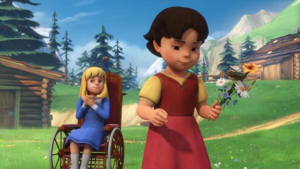 Heidi pflückt einen Blumenstrauß für Clara. | Rechte: ZDF/Studio 100 Animation/Heidi Productions Pty. Limited