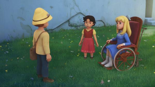 Heidi, Peter und Clara überlegen, wie man Fräulein Rottenmeier verschrecken könnte. | Rechte: ZDF/Studio 100 Animation/Heidi Productions Pty. Limited