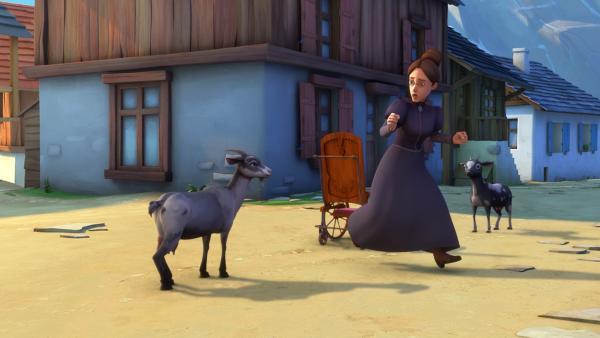 Fräulein Rottenmeier hat Angst vor zwei Ziegen. | Rechte: ZDF/Studio 100 Animation/Heidi Productions Pty. Limited