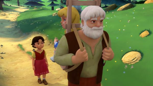 Großvater transportiert Clara in der Holztrage. | Rechte: ZDF/Studio 100 Animation/Heidi Productions Pty. Limited