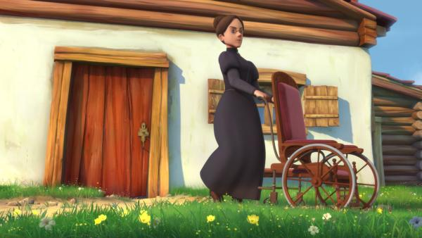 Fräulein Rottenmeier nimmt den Rollstuhl mit auf der Suche nach Clara.   Rechte: ZDF/Studio 100 Animation/Heidi Productions Pty. Limited