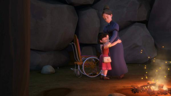 Heidi findet Fräulein Rottenmeier und umarmt sie.   Rechte: ZDF/Studio 100 Animation/Heidi Productions Pty. Limited