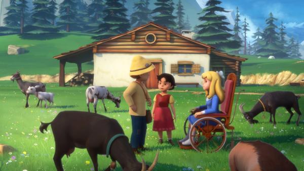 Heidi, Peter und Clara überlegen, wie sie Großvater helfen können.   Rechte: ZDF/Studio 100 Animation/Heidi Productions Pty. Limited